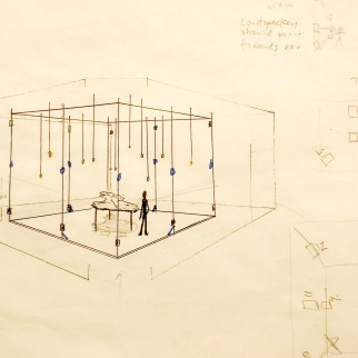 Sketch of the Installation with loudspeakers and lights